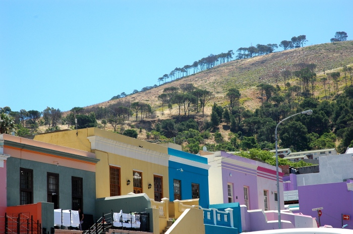 Painted houses with Signal Hill in the background