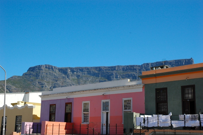 Bo Kaap houses with Table mountain in the background