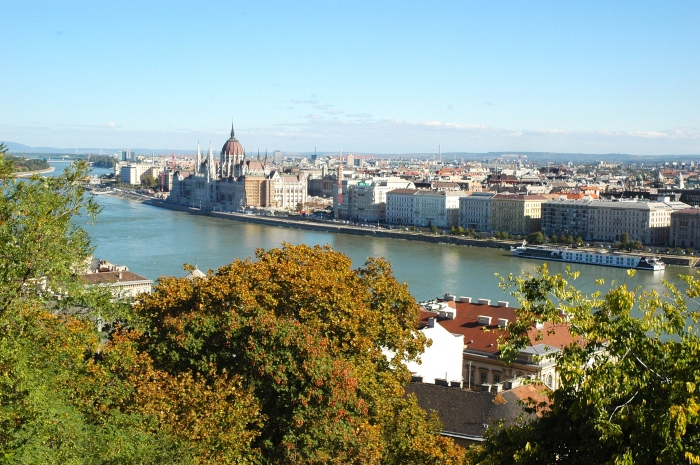 View of the Danube and Pest from Castle Hill on the Buda side