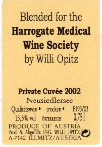 In 2003, HMWS blended a barrel of wine with Willi Opitz in Illmitz. This is the back label from one of those bottles