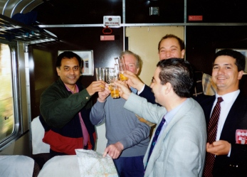 Drinking white port with Portuguese sommeliers on the train to Pinhao from Porto