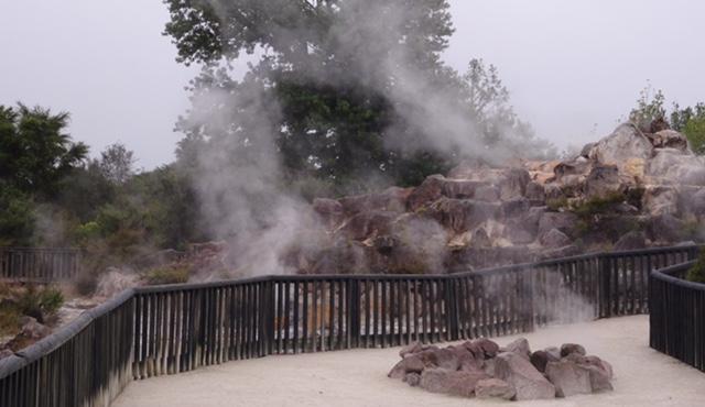 Gently steaming rocks.