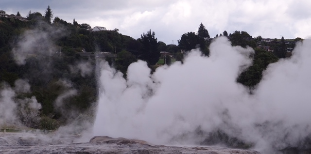 The geysers exploding boiling water skywards.