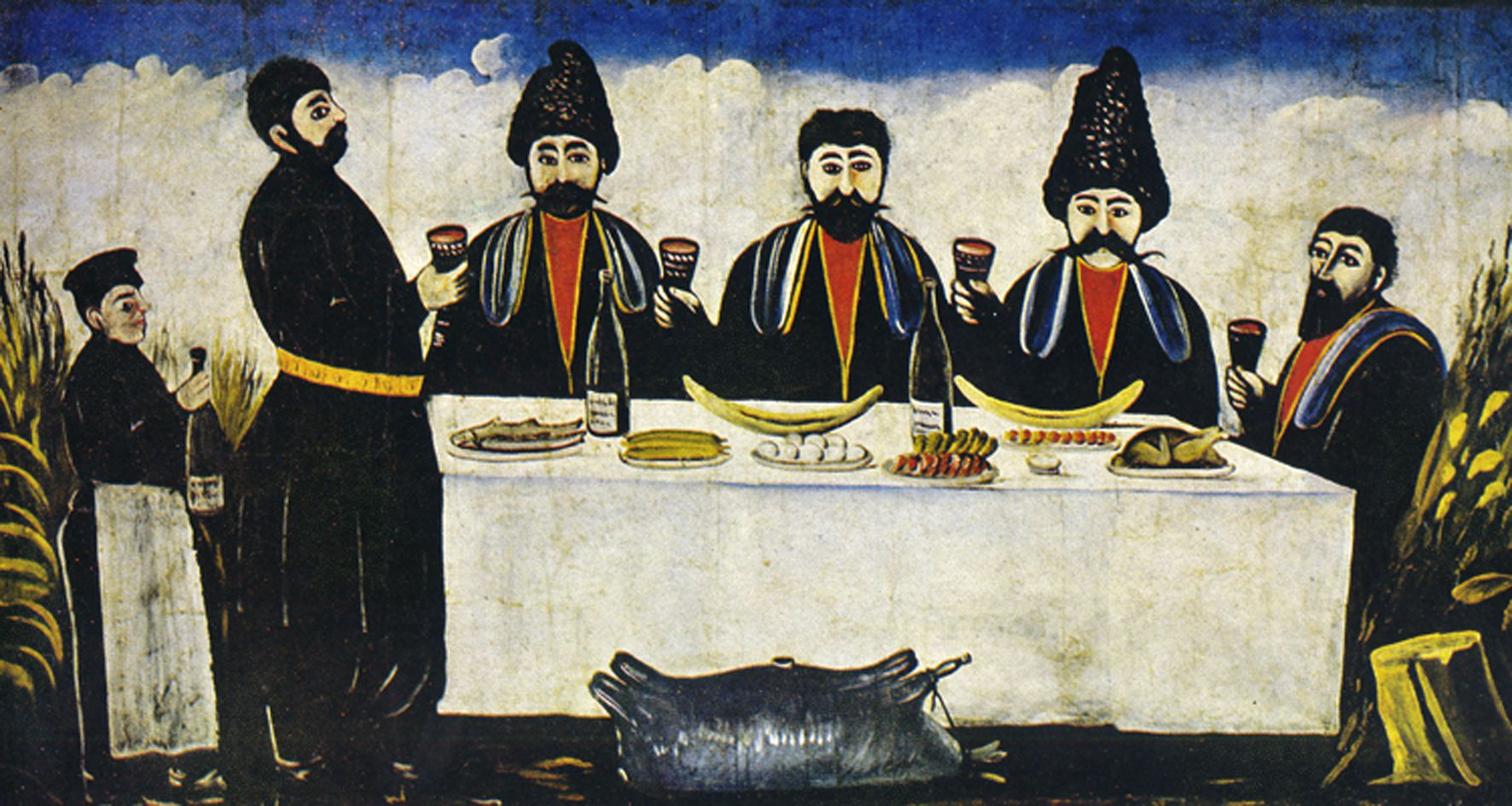 db6b9ab296b9 Niko Pirosmani s painting of a Supra. A tamada holding a kantsi (horn) and  introducing a toast at a keipi (festive supra)